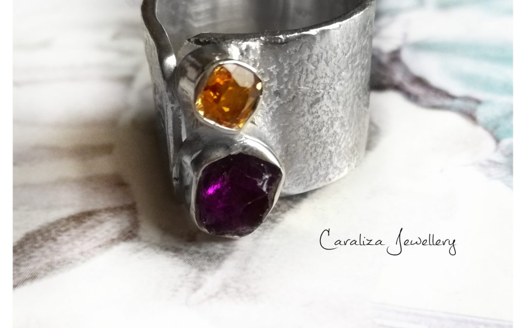 Bohemian Chic Ring, jewellery handcrafted in textured sterling silver by Caraliza Designs