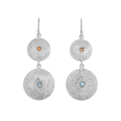 Blue Topaz and Citrine Disc Earrings, ethically handcrafted sterling silver jewellery by Caraliza Designs
