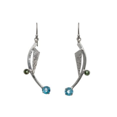 Priya Earrings Blue Topaz and Green Tourmaline handcrafted in sterling silver, ethical jewellery by Caraliza Designs