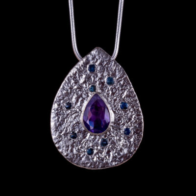 Artemis Amethyst Saphire Pendant Lunar Collection by Caraliza Designs - handcrafted sterling silver jewellery