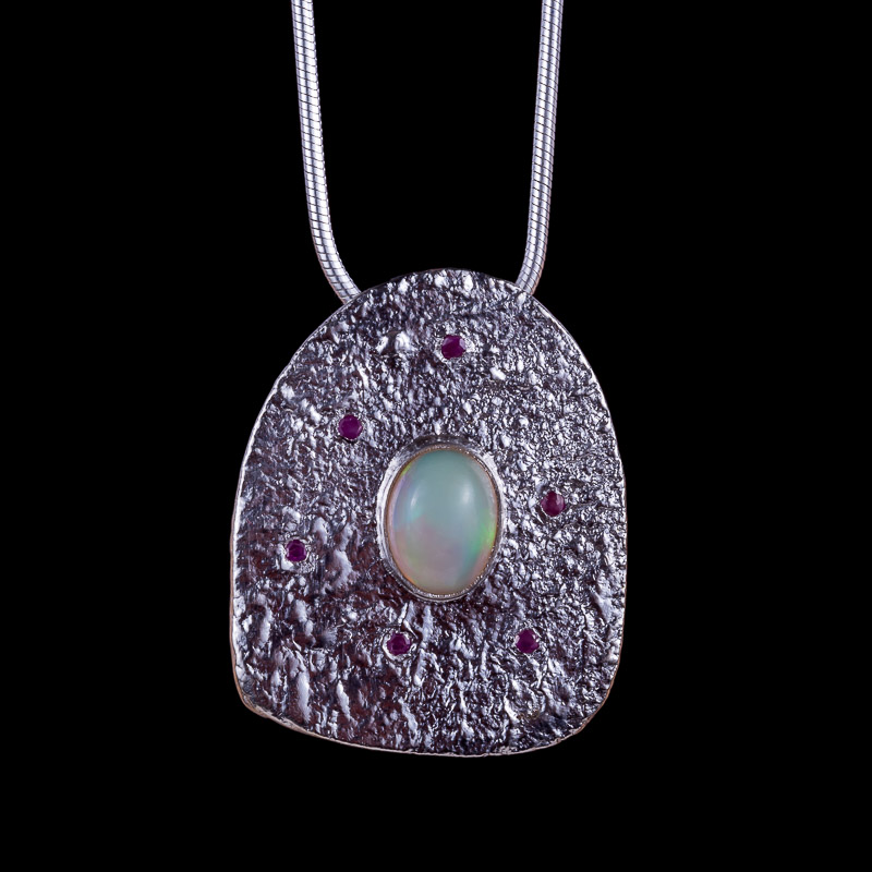 Ariel Opal Ruby Pendant Lunar Collection by Caraliza Designs - handcrafted sterling silver jewellery