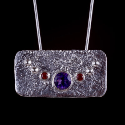 Rhea Amethyst Garnet Pendant Lunar Collection by Caraliza Designs - handcrafted sterling silver jewellery