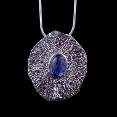 Leda Tanzanite Ruby Pendant Lunar Collection by Caraliza Designs - handcrafted sterling silver jewellery