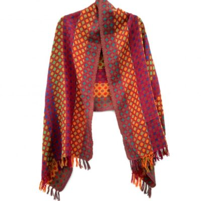 Fiery Polka Dot Merino Wool Shawl by Caraliza Designs