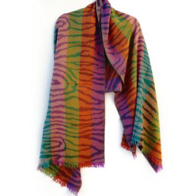 Rainbow Zebra Merino Wool Shawl by Caraliza Designs