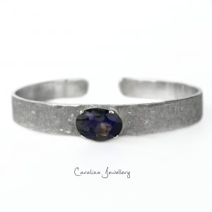 Iolite Bangle Ethical Jewellery Handcrafted in Sterling Silver by Caraliza Designs