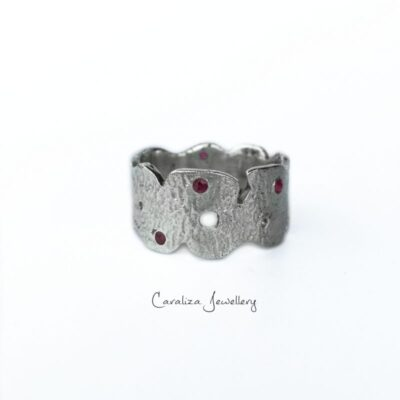 Rugged Beauty Ruby Ring, handcrafted textured sterling silver jewellery by Caraliza Designs