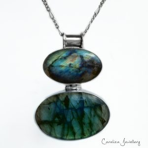 Labradorite pendant, ethical jewellery handcrafted in sterling silver by Caraliza Designs