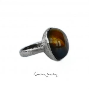 Tiger's Eye Ring, Jewellery Handcrafted in Sterling Silver by Caraliza Designs