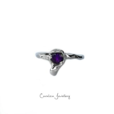 Amethyst Hammered Sterling Silver Ring, Jewellery handcrafted in sterling silver by Caraliza Designs