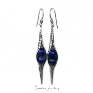 Lapis Lazuli Hammered Seedpod Earrings, jewellery handcrafted in sterling silver by Caraliza Designs