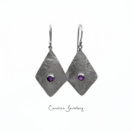 Amethyst Textured Kite Earrings, Jewellery Handcrafted in Sterling Silver by Caraliza Designs