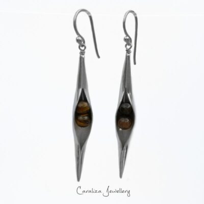 Tigers Eye Seedpod Earrings in Sterling Silver, jewellery handcrafted by Caraliza Designs