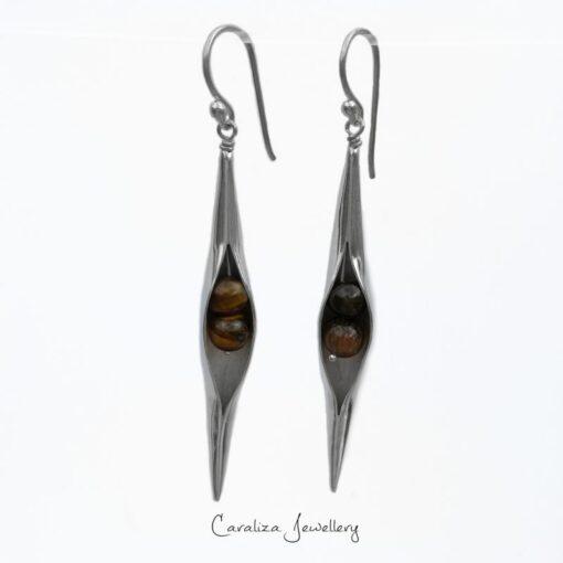 Tigers Eye Seedpod Earrings in Sterling Silver, jewellery handcrafted by Caraliza Designs