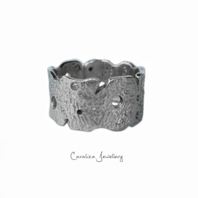 """Rugged Beauty"" zirconia textured ring, jewellery handcrafted in sterling silver by Caraliza Jewellery"