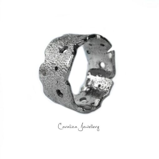 """""""Rugged Beauty"""" zirconia textured ring, jewellery handcrafted in sterling silver by Caraliza Jewellery"""