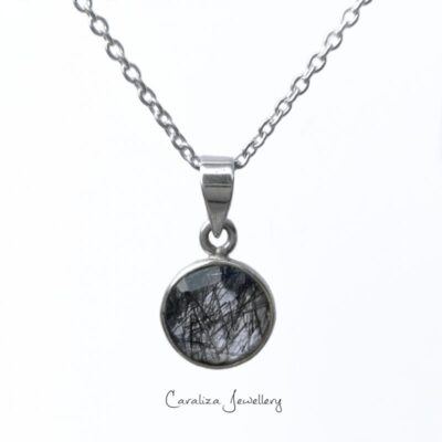 Dainty Drops Rhutile Pendant, jewellery handcrafted in sterling silver by Caraliza Designs