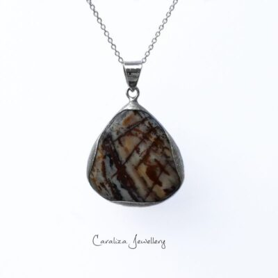 Earthy Brown Agate pendant, ethical jewellery handcrafted in sterling silver by Caraliza Designs