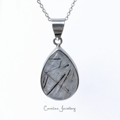 """""""Teardrop Cloud"""" rutile quartz pendant, ethical jewellery handcrafted in sterling silver by Caraliza Designs."""