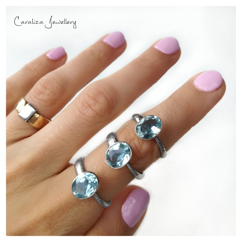 Blue Topaz rings, ethical jewellery handcrafted in sterling silver by Caraliza Designs