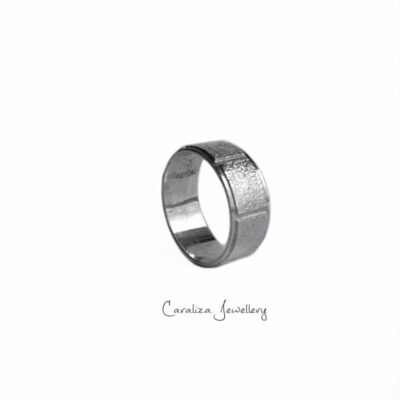 """""""Infinity"""" textured sterling silver ring, ethical jewellery handcrafted by Caraliza Designs"""