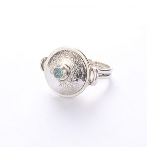 BLue Topaz Kettle-Bell Ring, ethical jewellery handcrafted in sterling silver by Caraliza Designs