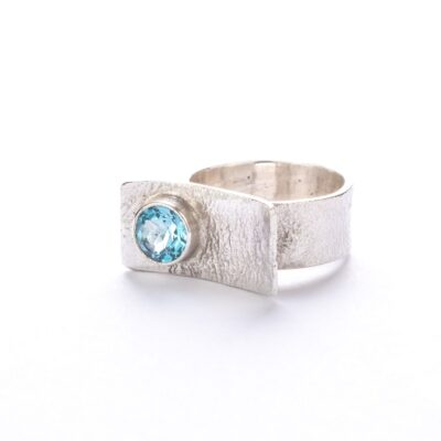Blue Topaz Bar Ring, ethical jewellery handcrafted in sterling silver by Caraliza Designs