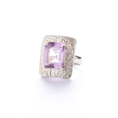 Royal Elegance Amethyst Square Ring, ethical jewellery handcrafted by Caraliza Designs