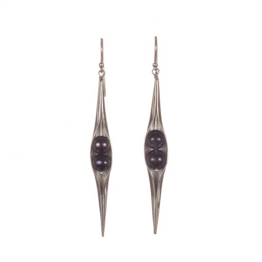 Polished Black Pearl Seedpod earrings, ethical jewellery handcrafted by Caraliza Designs
