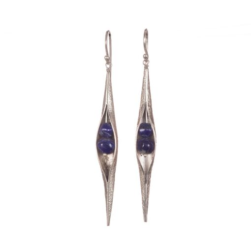 Textured Lapis Lazuli Seedpod earrings, ethical jewellery handcrafted by Caraliza Designs