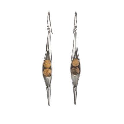 Jasper Seedpod Earrings, ethical jewellery handcrafted in sterling silver by Caraliza Designs