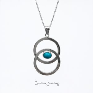 """""""Circle of Life"""" Arizona Turquoise Pendant ethical jewellery handcrafted in sterling silver by Caraliza Designs"""