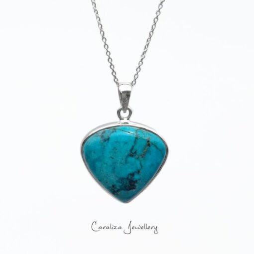 """True Heart"" Arizona Turquoise Pendant, ethical jewellery handcrafted in sterling silver by Caraliza Designs"