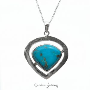 """""""Tribal Heart"""" Arizona Turquoise Pendant, ethical jewellery handcrafted in sterling silver by Caraliza Designs"""