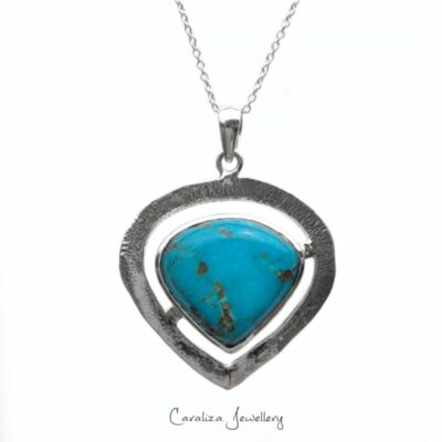"""Tribal Heart"" Arizona Turquoise Pendant, ethical jewellery handcrafted in sterling silver by Caraliza Designs"