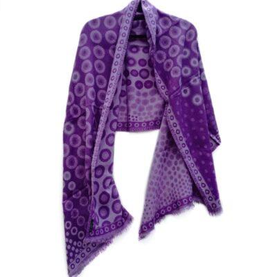 Lilac Kandinsky Merino Wool Shawl by Caraliza Designs
