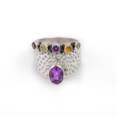 Spirit Queen Amethyst ring, ethical jeweller handcrafted in sterling silver by Caraliza Designs