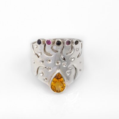 Fire Queen Citrine and Tourmaline Ring, ethical jewellery handcrafted in sterling silver by Caraliza Designs