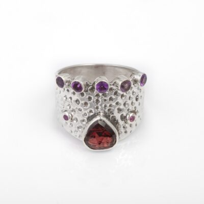 Royal Queen Garnet and Amethyst Ring, ethical jewellery handcrafted in hammered sterling silver by Caraliza Designs