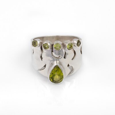 Irish Queen ring in Peridot, ethical jewellery handcrafted in sterling silver by Caraliza Designs