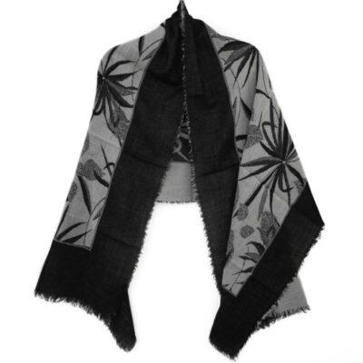 Monochrome Leaf Merino Wool Shawl by Caraliza Designs