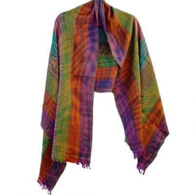 Tartan Rainbow Merino Wool Shawl by Caraliza Designs