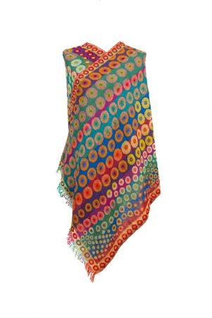 Rainbow Kandinsky Merino Wool Shawl by Caraliza Designs