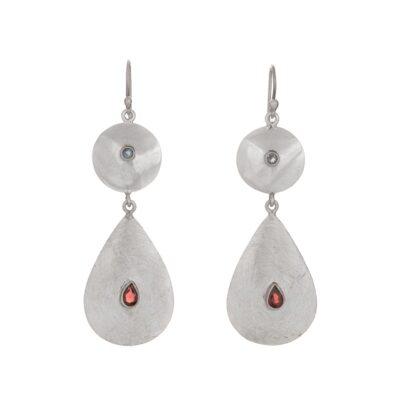 Garnet Blue Topaz Teardrop Disc Earrings, ethical jewellery handcrafted in sterling silver by Caraliza Designs