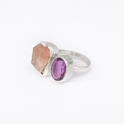 Opposites Attract Amethyst and Rose Quartz ring, ethical jewellery handcrafted in sterling silver by Caraliza Designs