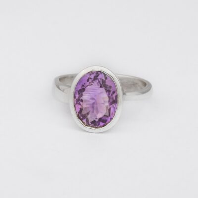 """Perfectly Imperfect"" Amethyst ring, jewellery handcrafted in sterling silver by Caraiza Designs"