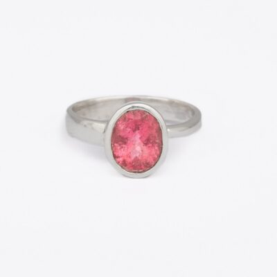 """Perfectly Imperfect"" Pink Tourmaline ring, ethical jewellery handcrafted in sterling silver by Caraliza Designs"