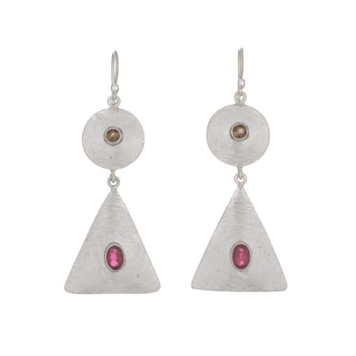Tourmaline Triangle Disc Earrings, ethical jewellery handcrafted in sterling silver by Caraliza Designs