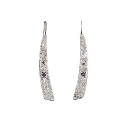 """""""Tribal Elegance"""" Amethyst Garnet Textured Earrings, ethically handcrafted jewellery in sterling silver by Caraliza Designs"""