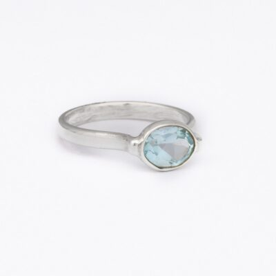 """Drop of Delight"" Blue Topaz ring, ethical jewellery handcrafted in sterling silver by Caraliza Designs"